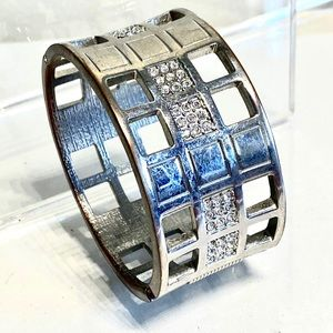 Silver Geometric Cuff Bangle Pave Bracelet